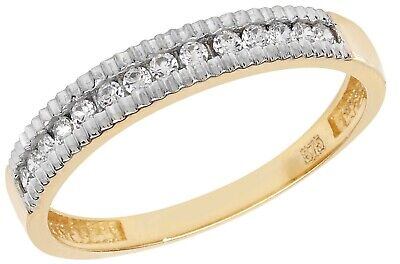 9ct Gold 0.15ct Ladies Eternity Ring - Size N - UK Hallmarked • 62.10£