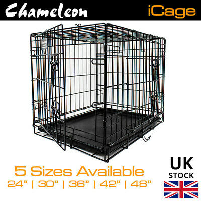 $52.14 • Buy Dog Folding Cage Crate Puppy 24 30 36 42 48in HEAVY DUTY  Metal Pet Carrier