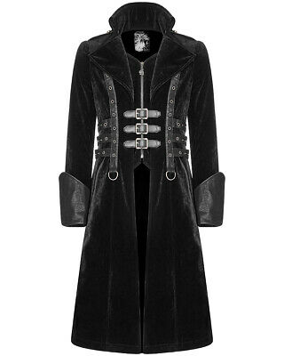 Punk Rave Mens Gothic Coat Jacket Long Black Velvet Steampunk Highwayman Leather • 109.99£