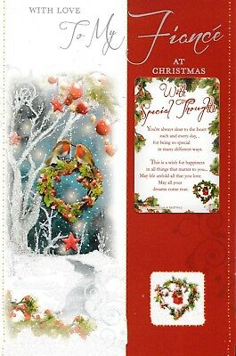 With Love To My FIANCE At Christmas Traditional Card With Keepsake • 2.60£