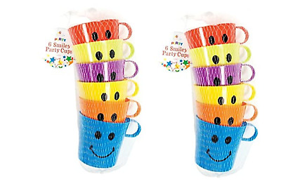 Party Children Kids Smiley Mugs Cups With Handle Fun  Camping Travel Plastic  • 9.28£