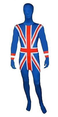Mens Lycra Bodysuit Jumpsuit British Union Jack Zentai Suit 2nd Skin Fancy Dress • 15.99£