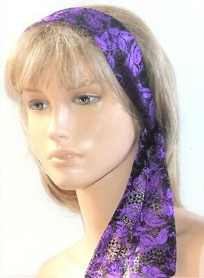New Purple Black Floral Lace Vintage Style Headband Hair Scarf Self Tie Bow E593 • 2.99£