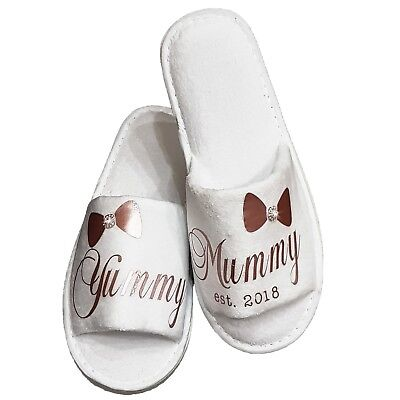 Baby Shower Yummy Mummy Gift Slippers All Sizes & Colours Free Organza Bag • 6.25£
