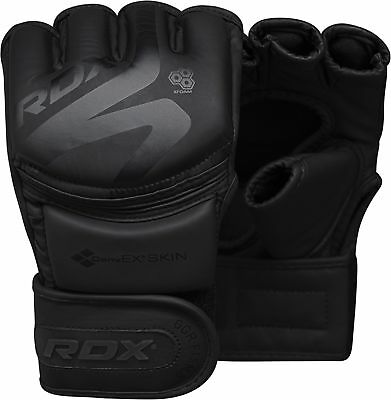 AU40.99 • Buy RDX Leather Boxing MMA Gloves Grappling Fighting Punch Bag Training Black