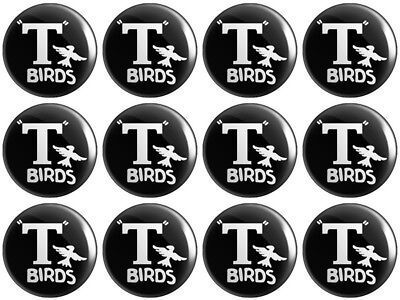12 X T Birds BUTTON PIN BADGES 25mm 1 INCH – Grease Logo Stag Hen Do Party • 3.99£