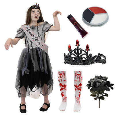 Gothic Zombie Prom Queen Girls Halloween Goth Fancy Dress Childs Dead Bride • 10.99£