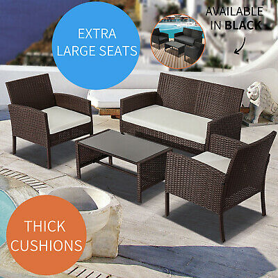 AU398 • Buy 4PC Outdoor Furniture PE Wicker Cushion Lounge Garden Sofa Set