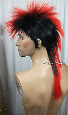 $128.99 • Buy Quality MOHAWK Wig ..Unisex .. Black Tipped In RED *