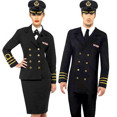 Navy Officer Adults Fancy Dress Military Army Marine Soldier 40s Wartime Costume • 30.99£