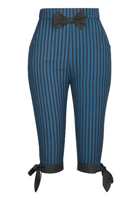 Blue Black Gothic Steampunk Stripe Pirate Retro 50s Rockabilly Cropped Pants  • 19.99£