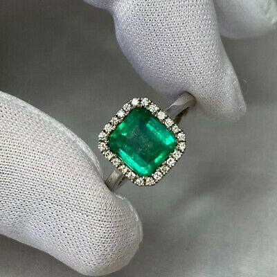 Vivid Green 2.58ct CERTIFIED Colombian Emerald Diamond 18k White Gold Halo Ring • 6,000£
