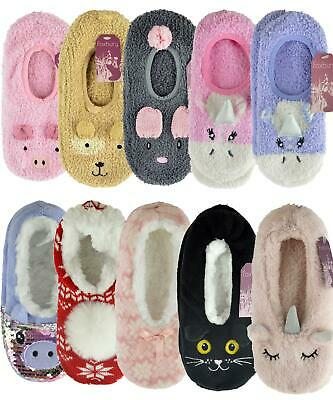 Ladies Ballerina Soft Fleece/Knitted Slippers With Grip Sherpa Lined/Unlined • 4.99£