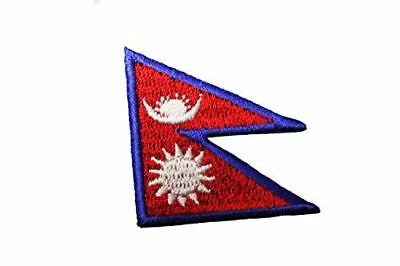 NEPAL Country Flag Embroidered Iron On Patch Crest Badge ...Size : 1.5  X 1.5  I • 1.41£