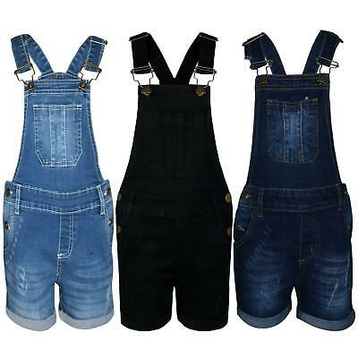 £14.99 • Buy Kids Girls Dungaree Shorts Denim Ripped Stretch Jeans Overall Jumpsuit 5-13 Year