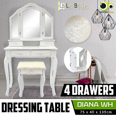 AU124 • Buy Luxury Dressing Table Makeup & Stool Mirrors Jewellery Cabinet 4 Drawers DIANA