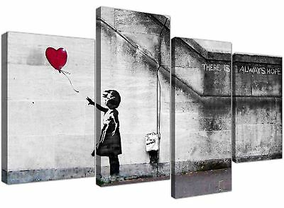 Extra Large Banksy Canvas Prints Balloon Girl Hope Wood Framed Ready To Hang  • 19.99£
