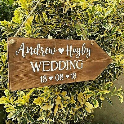 Wedding Welcome Sign Large Rustic Personalised Wooden Arrow Venue Decoration • 24.95£