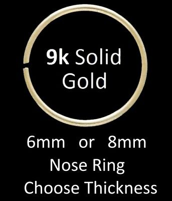 AU14.24 • Buy Solid 9ct Gold - TIGHT FIT Nose Ring - Choose: 6mm Or 8mm
