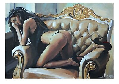 Limited Edition Print By Ellectra/ Erotic/ Oil Gold Lesbian Interest • 49£