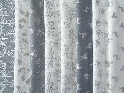 Christmas White Metallics Cotton Patchwork Craft Fabric By The Fq / Half Metre • 3.25£