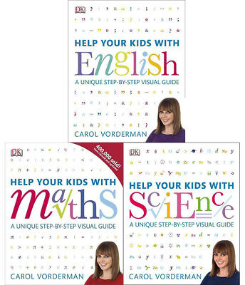 Carol Vorderman Help Your Kids With Science Maths And English 3 Books Collection • 39.99£