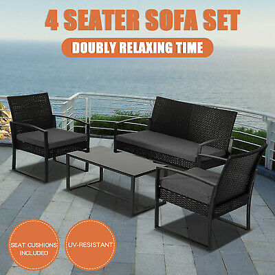 AU350.55 • Buy 4PC Outdoor Furniture Patio Wicker Table Chairs Garden Sofa Loung