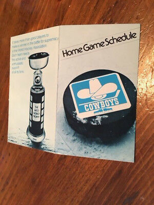 $22 • Buy WHA 1976-77 Calgary Cowboys Home Schedule,World Hockey Association,excellent