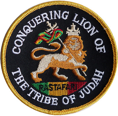 Rastafarian Conquering Lion Of The Tribe Of Judah Embroidered Patch • 5.50£
