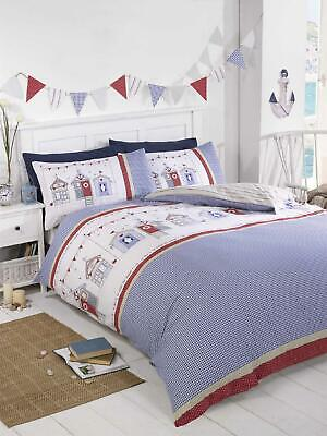 Beach Hut Checked Blue Duvet Cover & Pillowcase Bedding Nautical Bed Sets  • 21.95£
