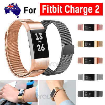 AU13.95 • Buy For Fitbit Charge 2 Band Metal Stainless Steel Milanese Loop Wristband Strap