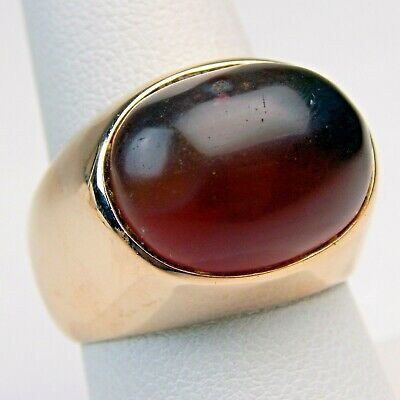 $589.50 • Buy Hollow Cabochon Carnelian Agate Gypsy Ring 18 Kt Rose Gold Gents Sz 8 3/4 #7900