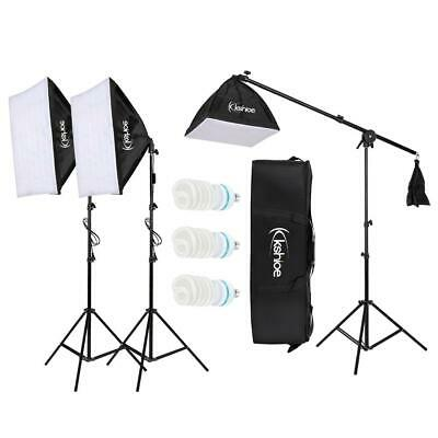 Studio Boom Arm Soft Box Continuous Lighting Kit Light Stand With 3 Softbox • 49.95£