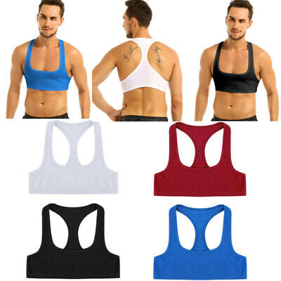 Men's Sexy Muscle Vest Crop Top Sleeveless Y Back Tank Tops Costume Club T-shirt • 3.69£