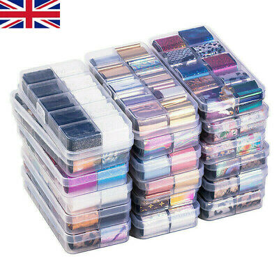 £3.99 • Buy Holographics Nail Foils Kit Transparent Flower Nail Art Transfer Stickers Decals