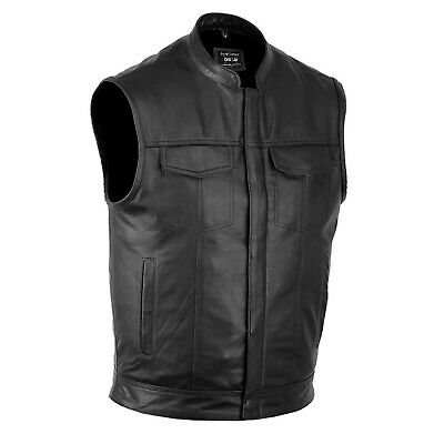 $39.99 • Buy DEFY™ SOA Men's Motorcycle Club Leather Vest Concealed Carry Arms Solid Back