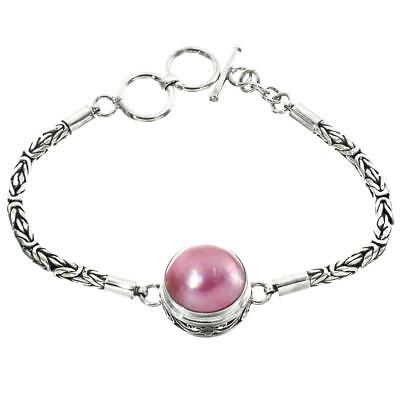 $96.95 • Buy 7  SOUTH PACIFIC PINK MABE PEARL BYZANTINE CHAIN 925 STERLING SILVER Bracelet