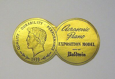 $0.99 • Buy Cinderella FOIL DIE-CUT 1939 Advertising ACROSONIC PIANO By BALDWIN (BLK On GOLD