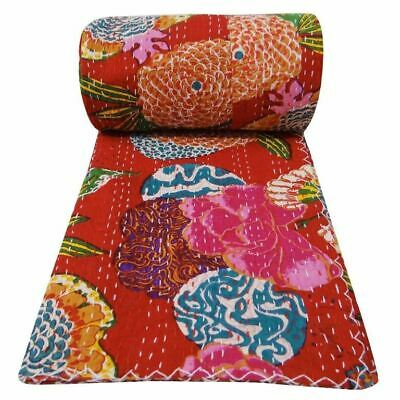 Indian Handmade Twin Size Kantha Quilt Throw Bedspread Red Blanket Tropicana   • 28.99£