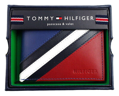 $25.99 • Buy Tommy Hilfiger Men's Leather Wallet Passcase Billfold Red Navy 31TL22X051