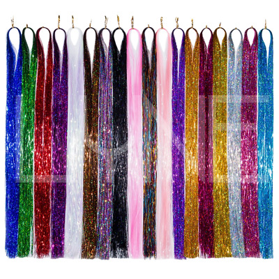 UK 100 X Strands Holographic Hair Ext. Tinsel 48  Long 24 Hours Delivery • 2.45£