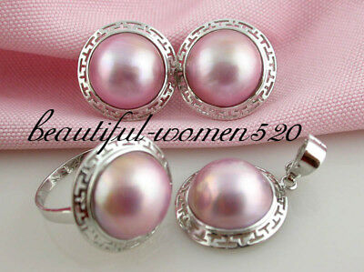 $199 • Buy DM13 SET  20mm Pink Sea Mabe Pearl Earring Ring Pendant Sterling Silver & 14KT