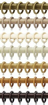 6 X Integra Woodworks Wooden Curtain Rings 7 Colours For 50mm Diameter Poles • 9.95£