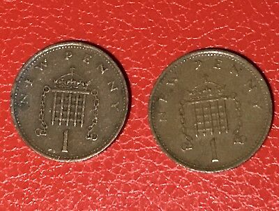 Two RARE 1p New Penny Coin 1971 One Penny • 150£