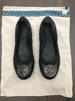 2d7be70299f8 Tory Burch Caroline Black Patent Leather Gold Trim Logo Ballet Flats Flat  Size 7 • 59.99