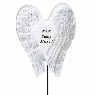 Sadly Missed Nan Angel Wings Memorial Tribute Stick Graveside Plaque • 5.99£