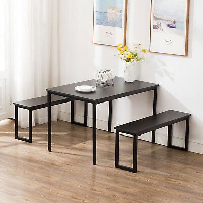 Black Kitchen Dining Table And Chairs Set Breakfast Nook Furniture W/ 2 Benches • 119.99$