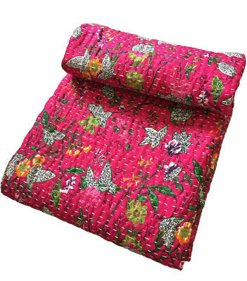 Indian Handmade Quilt Vintage Kantha Bedspread Throw Cotton Blanket Paradise Art • 42.49£