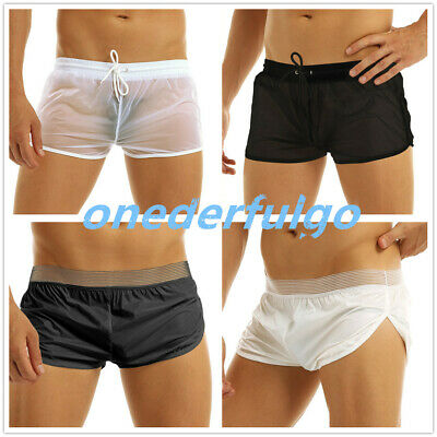 Men Sexy Boxer Trunks See-through Lounge Wear Drawstring Shorts Briefs Swimwear • 4.65£