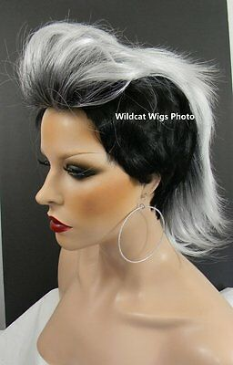 $29.99 • Buy Way Cool MOHAWK WIG. New Style Called Vivid ...  Black Tipped In White! * UNISEX